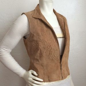 Embroidered golden tan suede vest Coldwater Creek